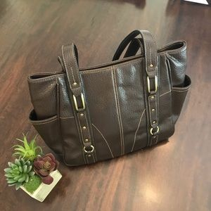 Apt 9 Faux Leather Stitched Brown Bucket Bag